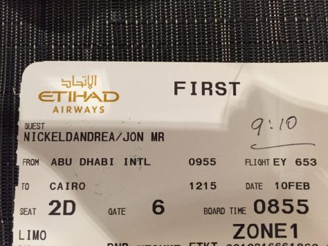 Etihad ticket stub... with boarding time.