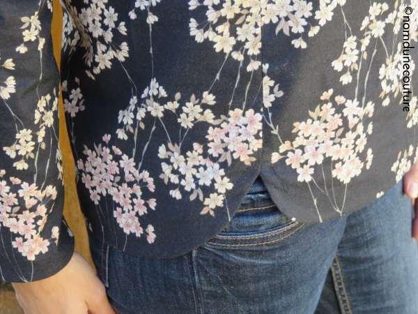 détail des découpes et parementure blouse cézembre