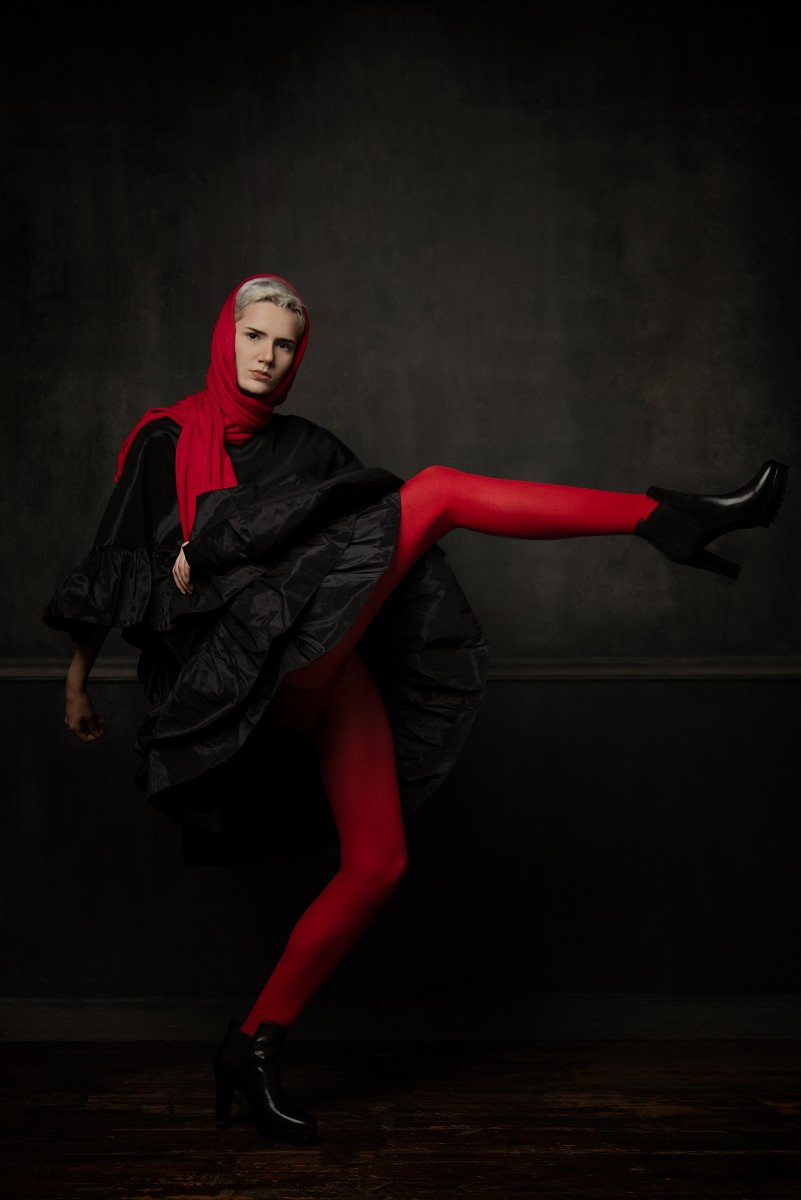 Antonella Fashion Photoshoot Red Scarf and tights black ruffle dress Nomee