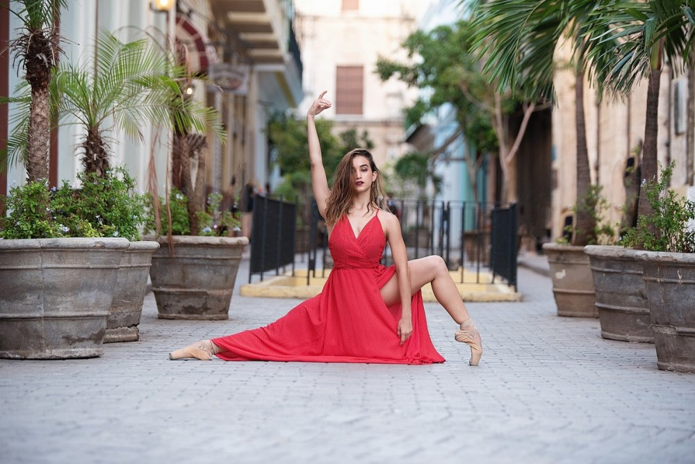 Cuban dancer Kathy Ochoa in Old Havana red dress