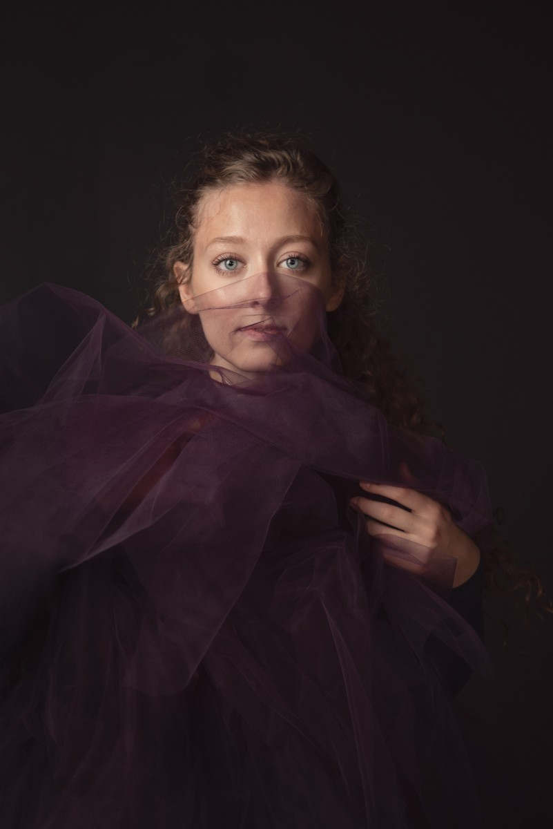 Nomee Studio Portrait of Emily Fugett with Purple Tulle fabric