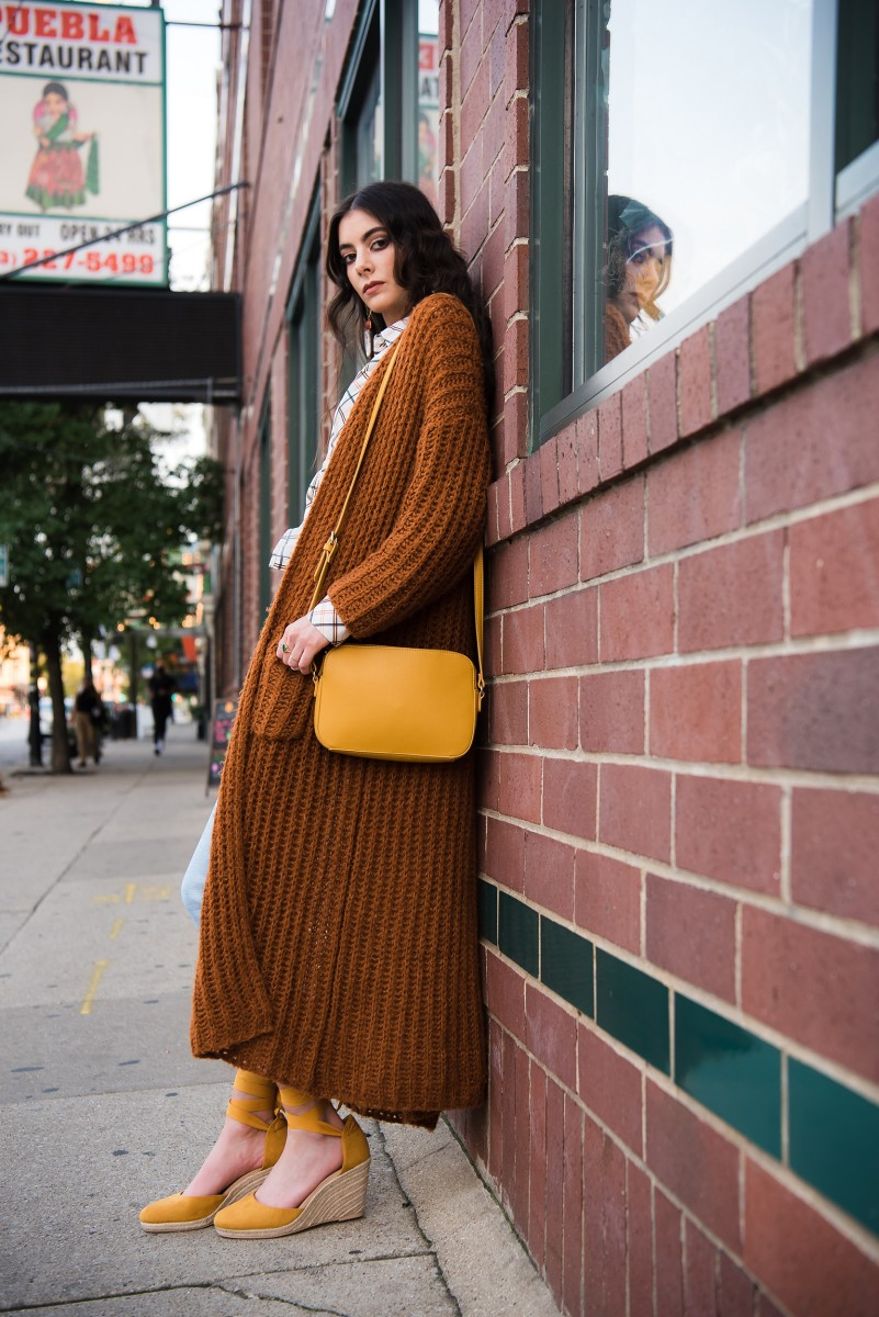 Penelope Bauer Logan Square Editorial Photoshoot long knit sweater mustard purse