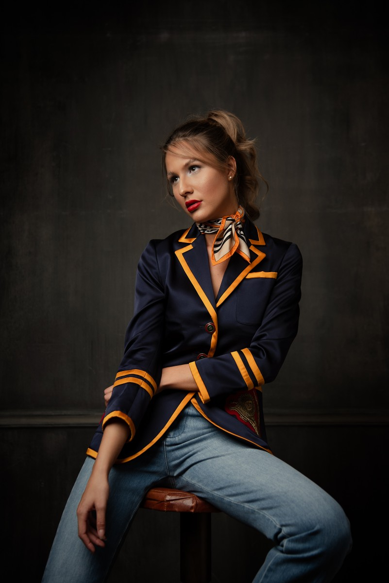 Brooke Gucci Blazer with jeans Sitting