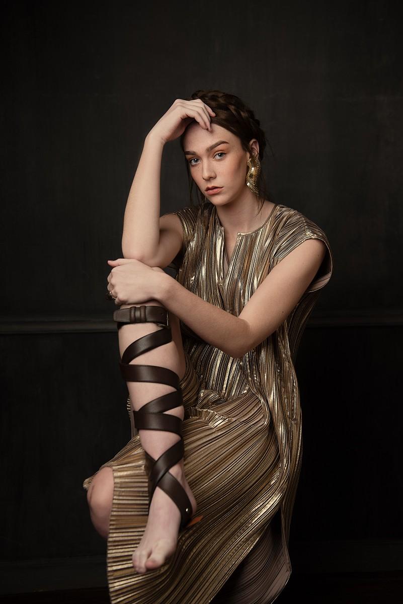 Model Annika Cappis Nomee Photography Studio Editorial Gold Dress Goddess Belted Shoe.jpg
