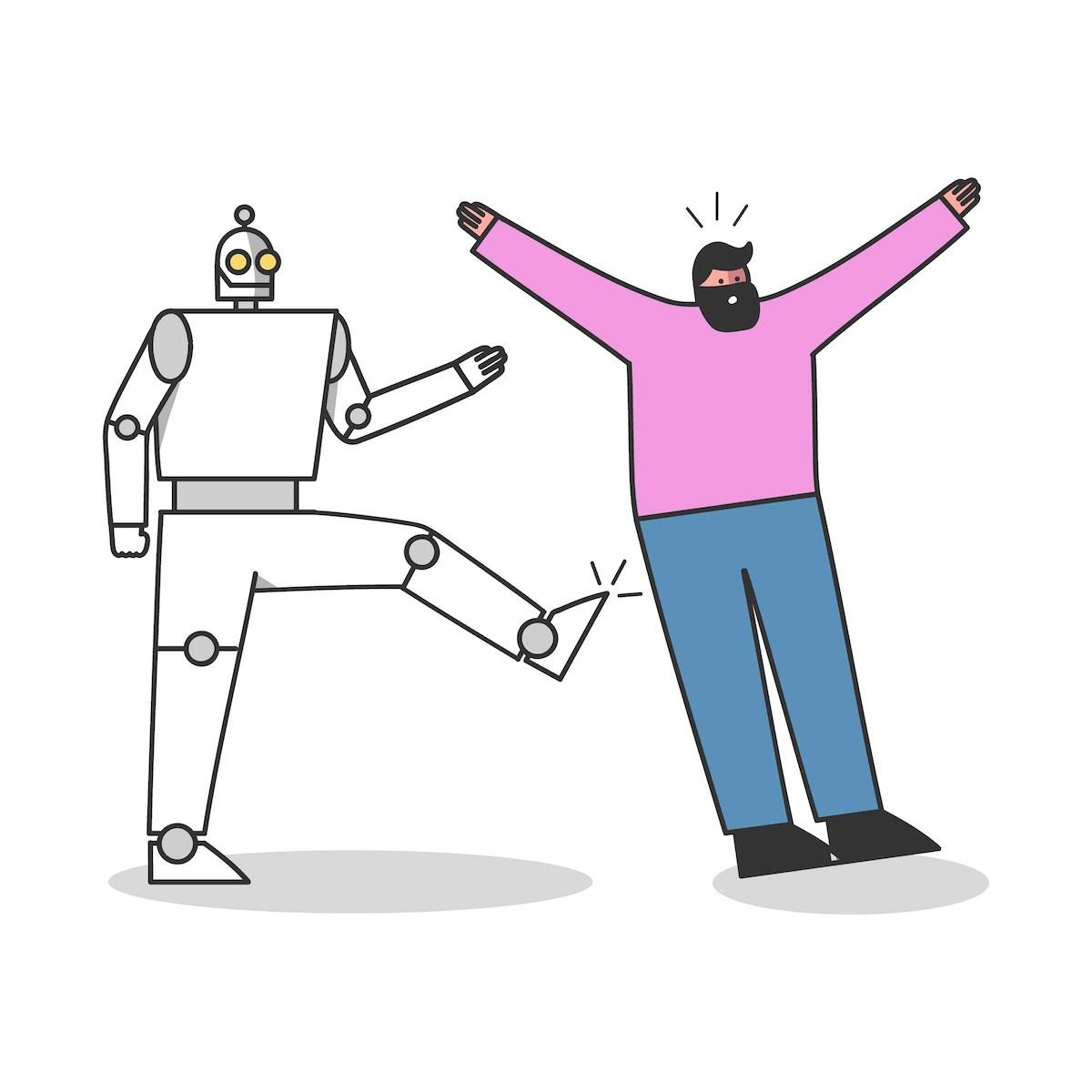 Trabajador robótico patea a un profesional humano. Concepto adquirir conciencia inteligencia artificial
