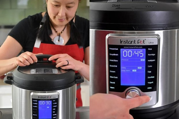A woman locks the lid on the Instant Pot. On the right, an Instant Pot Ultra display shows that it is ready to cook for 45 minutes under high pressure.