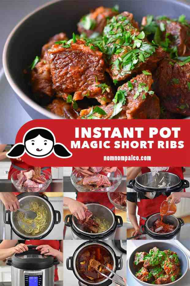 A collage of the cooking steps to make Instant Pot Magic Short Ribs.