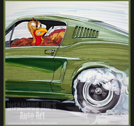 Thanksgiving Turkey doing a burnout in green mustang Bullitt Style