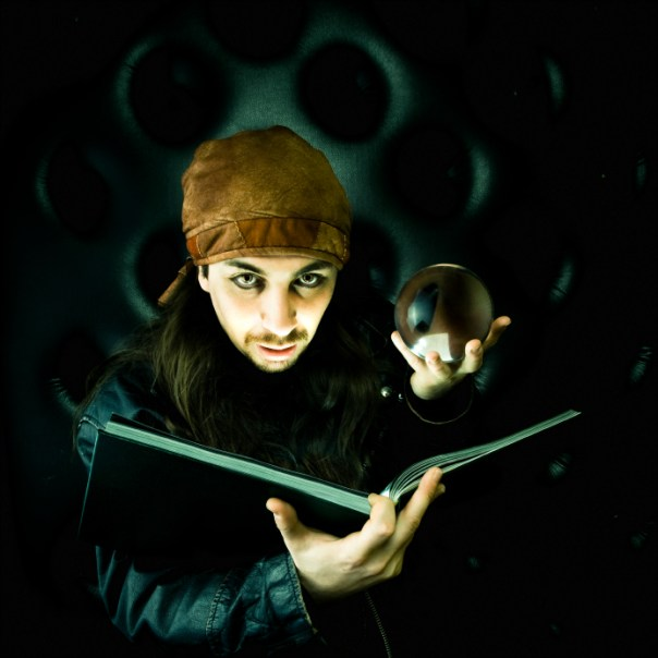 Fortune Teller with Book and Crystal Ball