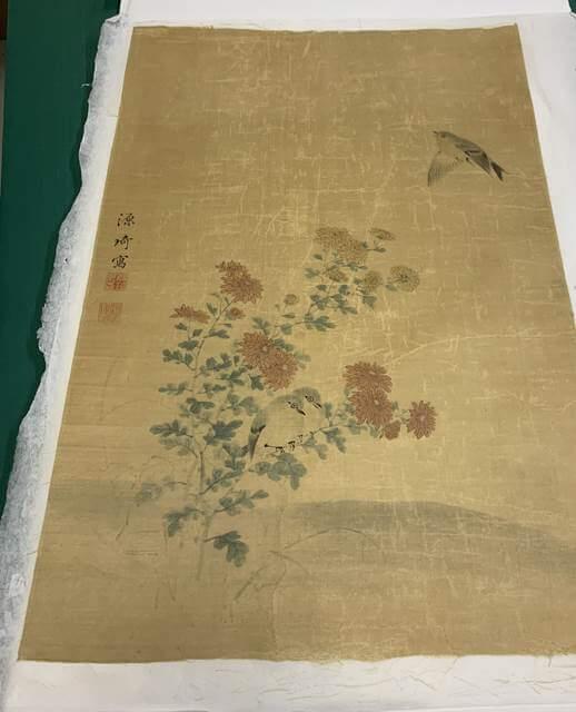 restoration kakejiku hanging scroll painting Japanese Germany damaged remount