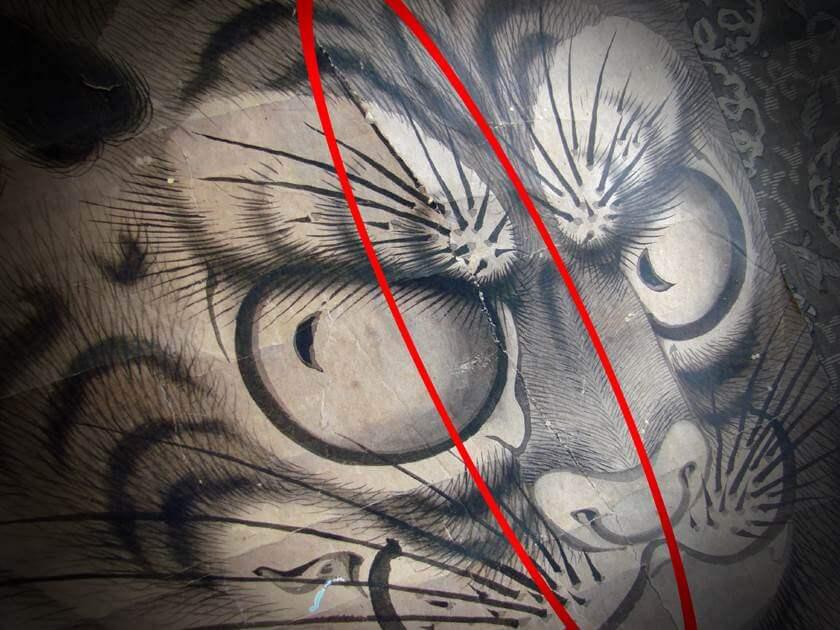 ドイツ から古い掛軸(江戸~明治時代)の仕立替依頼 : 長崎派の猛虎図