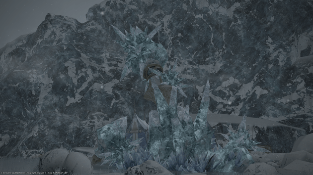 A broken aetheryte crystal is what remains of an settlement destroyed by the Calamity event that occurred before A Realm Reborn.