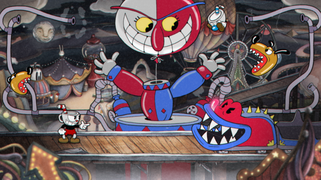 Screenshot of gameplay for Cuphead