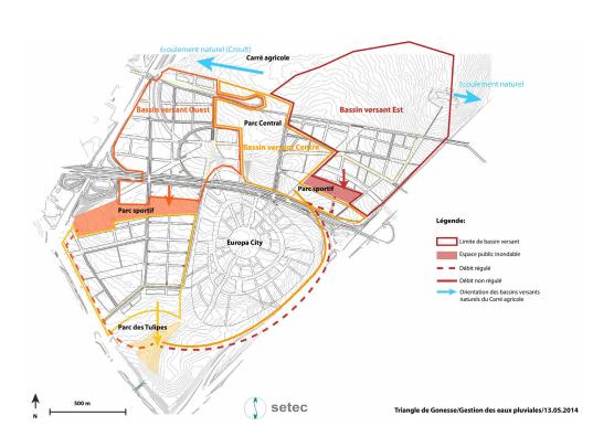 Gestion des eaux pluviales Extrait du plan guide pour le Triangle de Gonesse @EPA Plaine de France, Groupement Güller Güller - RHDVHV - EBP / RR&A - PvB avec Setec
