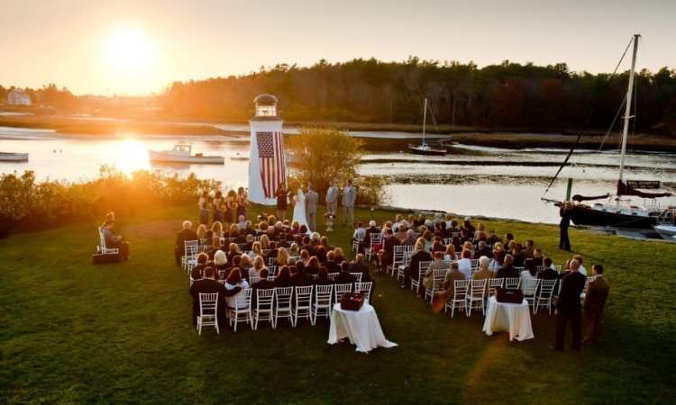 Sunset wedding in front of the Lighthouse.