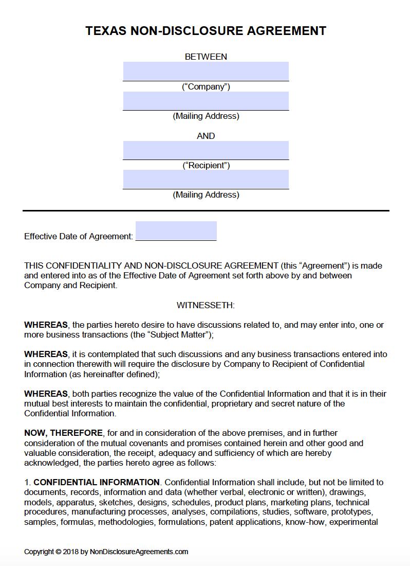 Free Texas Non Disclosure Agreement NDA Template PDF Word