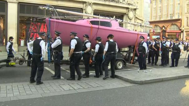 The boat being removed by police