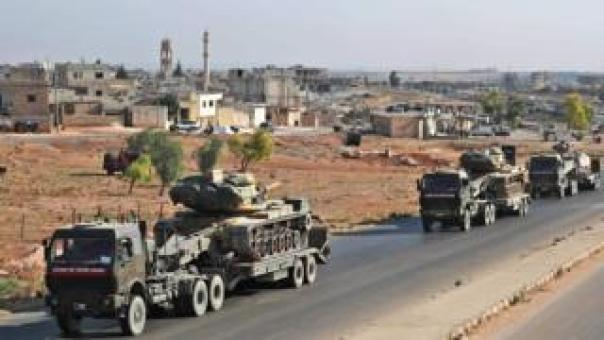 A Turkish convoy in Idlib reportedly heading for the rebel-held town of Khan Sheikhoun