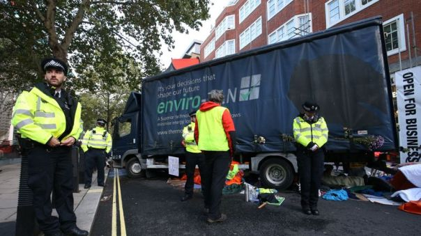 A lorry blocks Marsham Street, outside the entrance to the Home Office, amid demonstrations by Extinction Rebellion (XR) in Westminster, London.