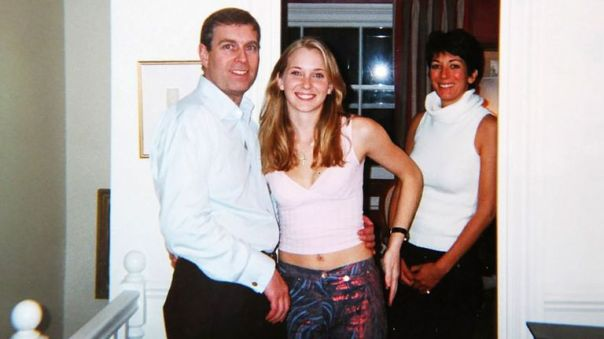 Prince Andrew and a 17-year-old Virginia Roberts at Ghislaine Maxwell's house in London in March 2001. Pic: Rex/Shutterstock