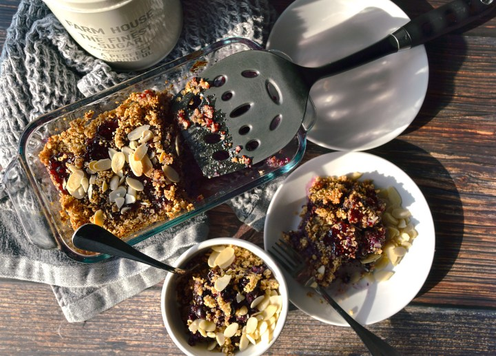 The classic blueberry crumble