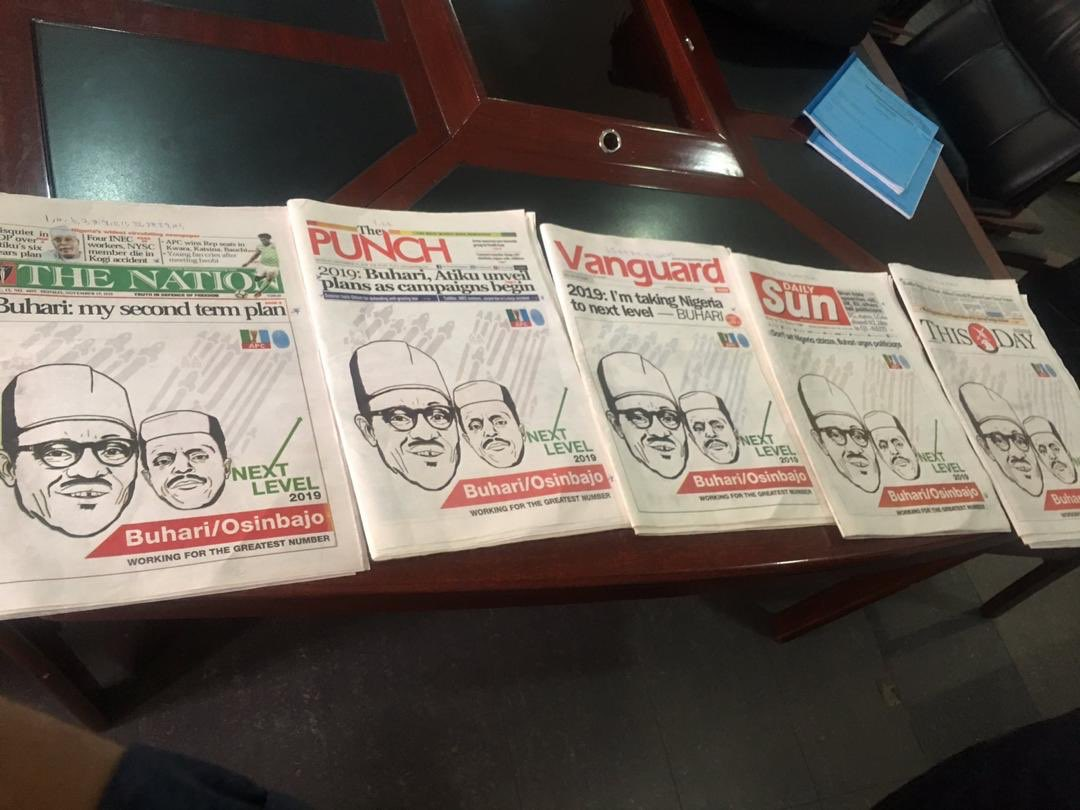 "Buhari's ""Next Level 2019"" Advert Now Trending On Newspapers (Photo)"