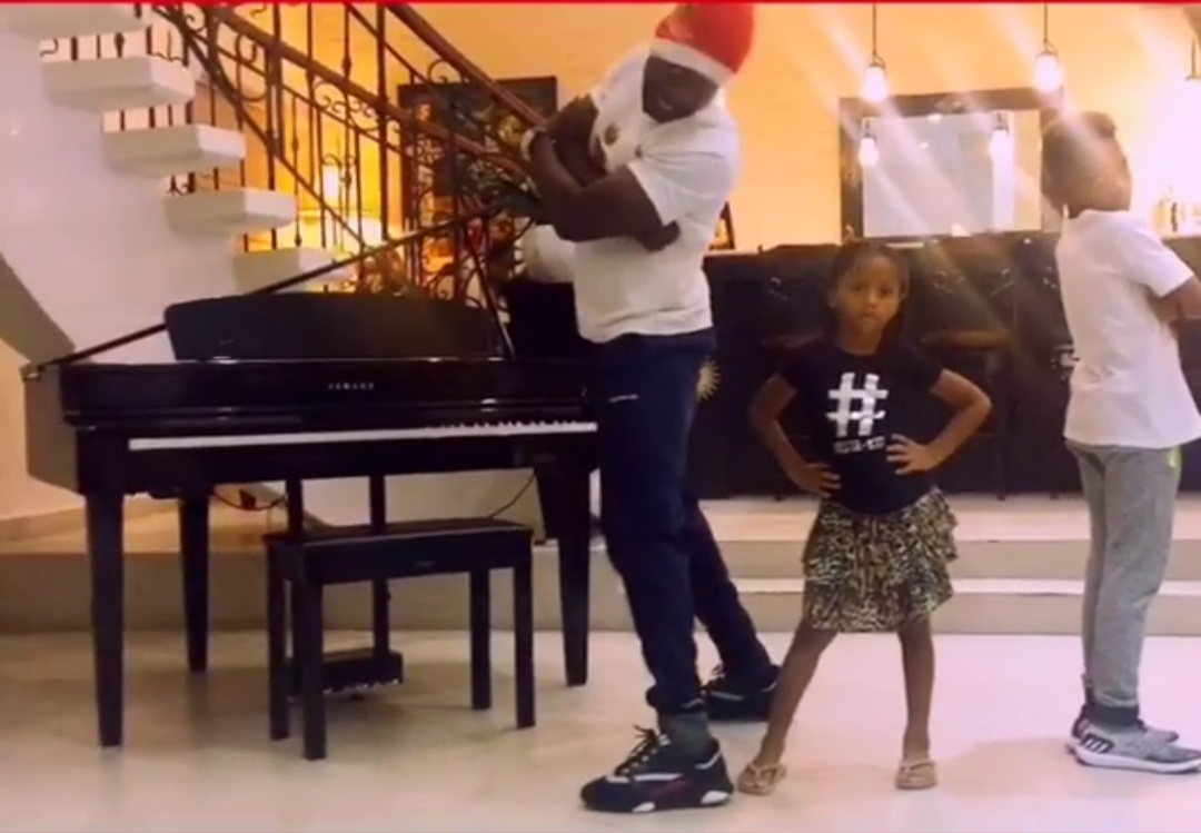 Peter Okoye, Son And Daughter Dance To Celebrate Their Christmas
