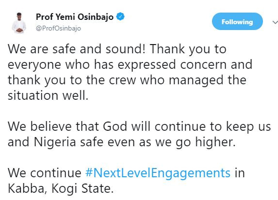 'We are safe and sound' – VP Osinbajo tweets after surviving from helicopter crash