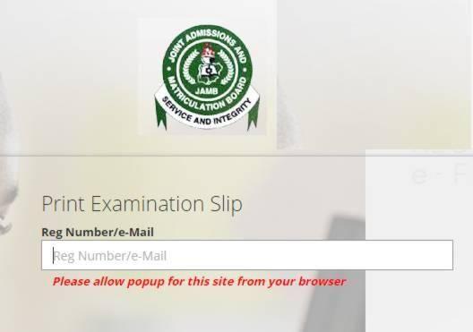 Jamb Exam Slip