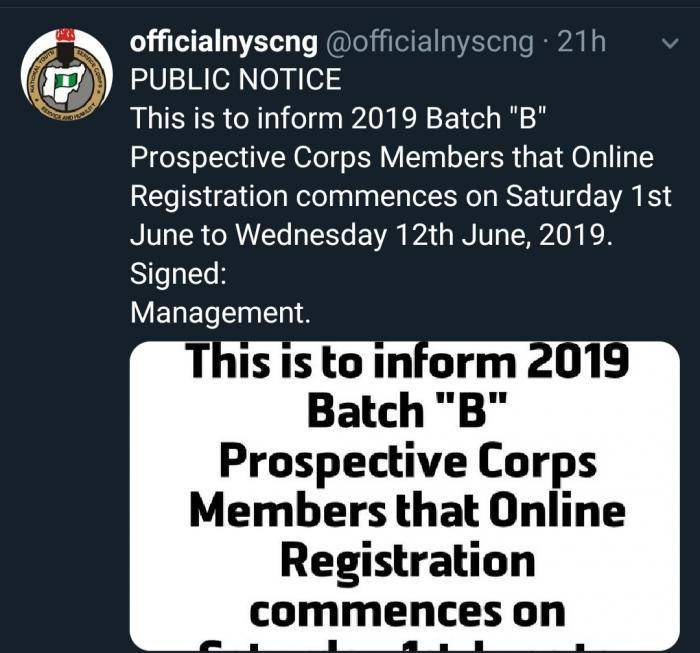 NYSC Officially Postponed Registration Date For NYSC 2019 Batch B