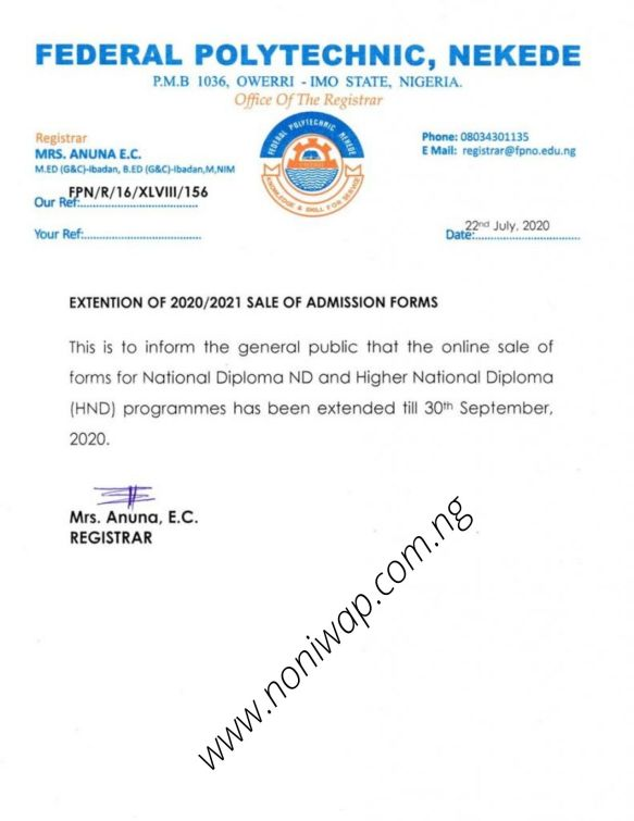 Nekede Sales of Admission Form 2020/2021 has been Extended