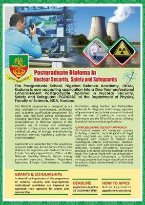 NDA Postgraduate Admission Form in Nuclear Security, Safety and Safeguards