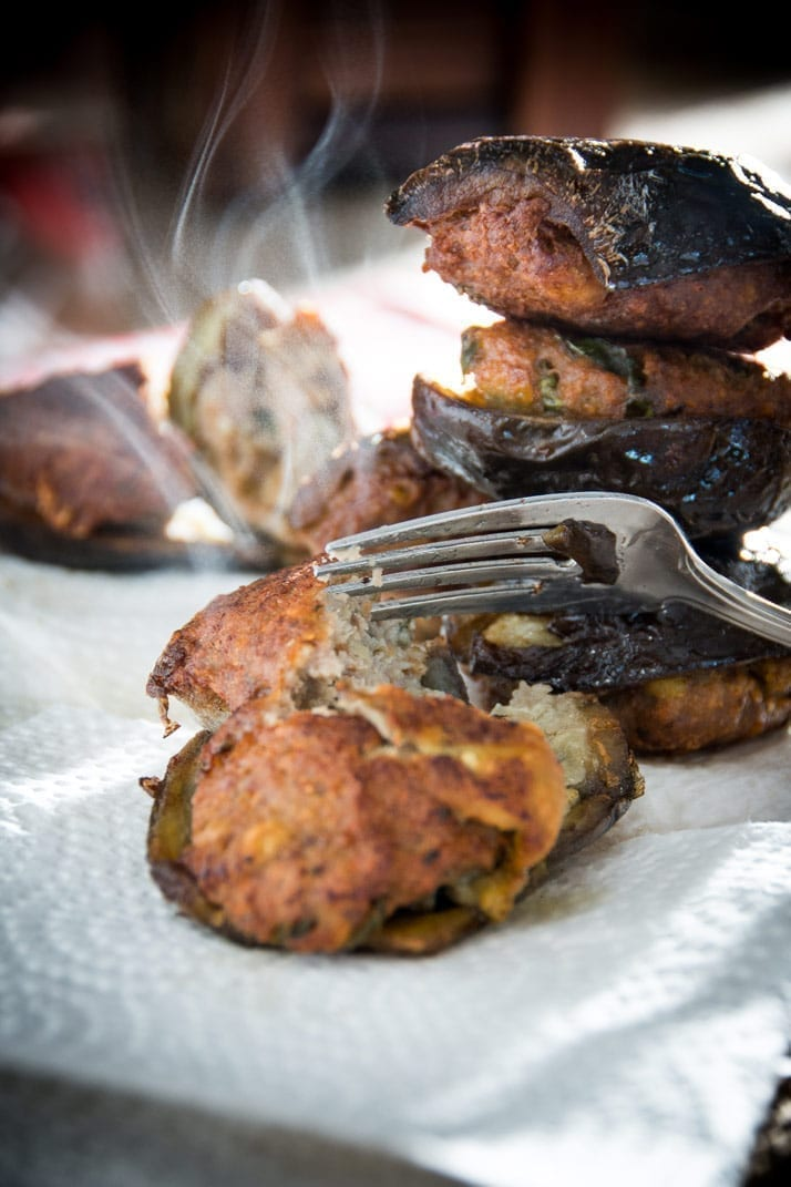 stuffed eggplant, malanzane ripiene - Give eggplant a try with this pork basil filling.