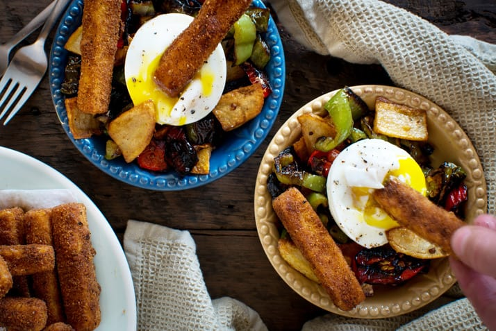poached-eggs-with-peppers-potatoes-and-polenta-fries