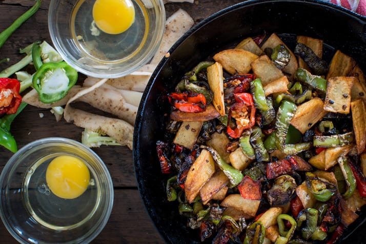 pepper and potato stir fry with eggs and polenta fries