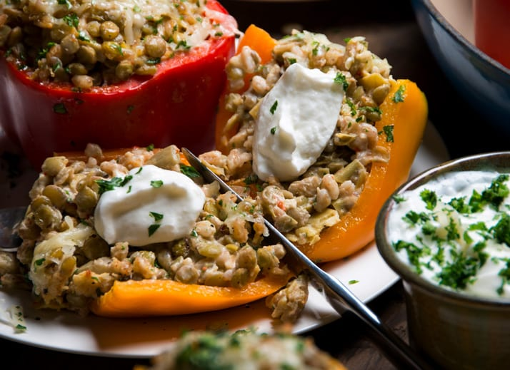 lentil-and-farro-stuffed-peppers-with-cheeses and artichokes
