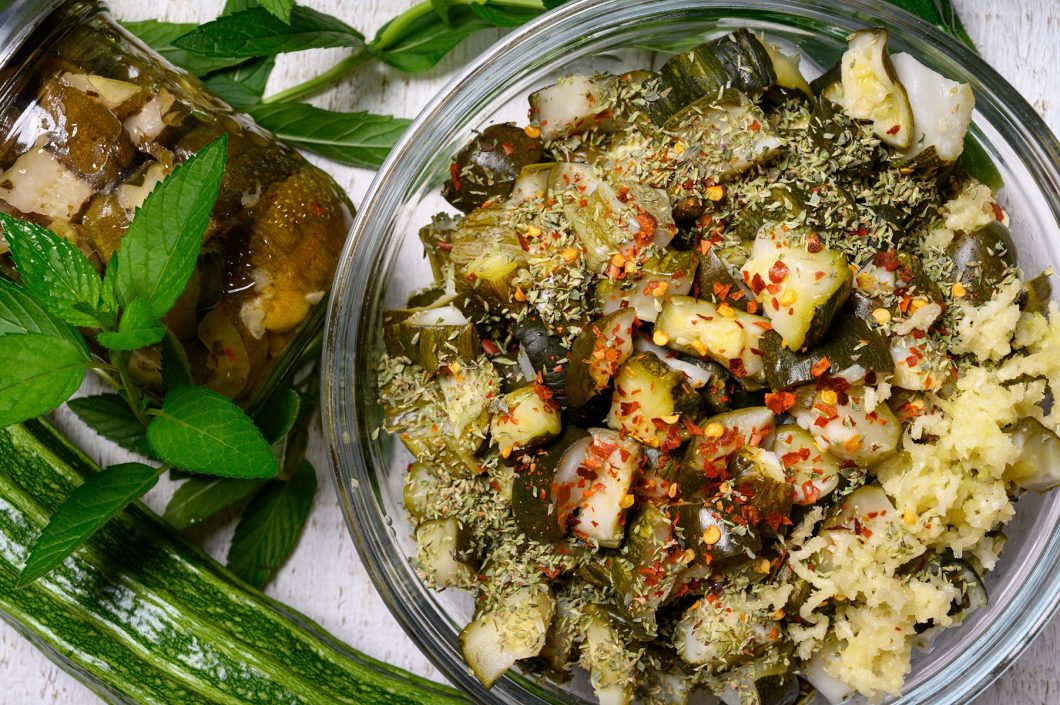 zucchini squeezed of vinegar and dressed with oregano, mint, hot pepper, and garlic