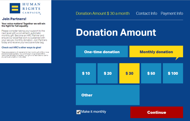 online fundraising idea monthly recurring donations