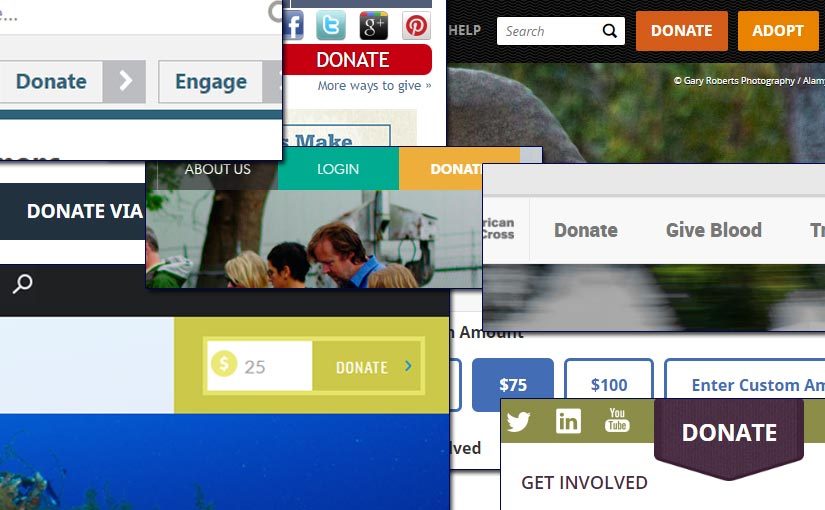 """A collage of website """"Donate"""" buttons"""