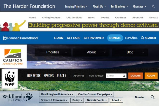 Six examples of nonprofit website menus