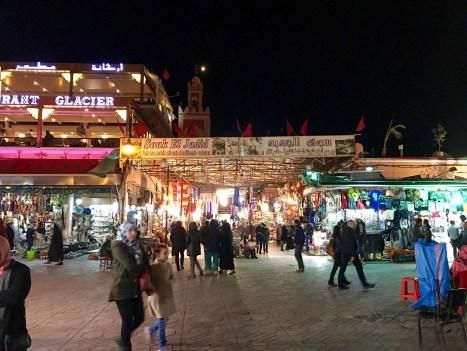 the Jemaa el-Fnaa at night