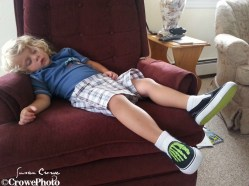 Toddler sleeping on chair
