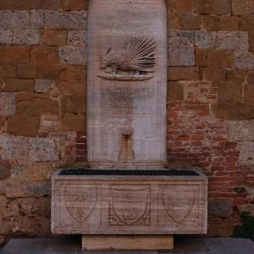 Una fonte battesimale nella Contrada dell'Istrice: dopo il battesimo canonico in chiesa, il battesimo della contrada.