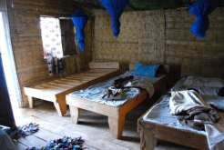 A Nkhata Bay (Malawi) l'ostello disponeva di camerate in bambù affacciate sul lago.
