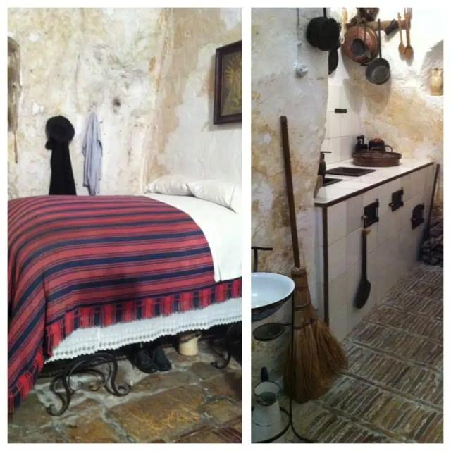L'interno di una casa grotta a Matera