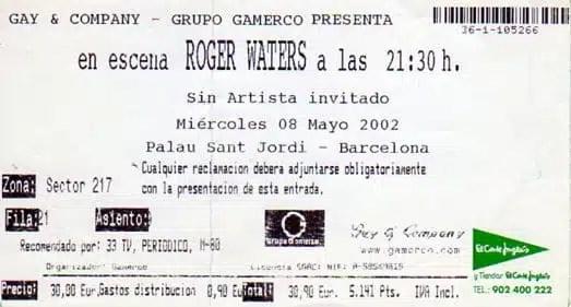 Il biglietto del concerto di Roger Waters