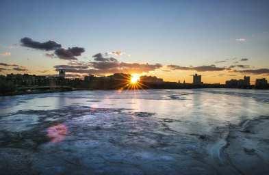 Skyline invernale di Boston