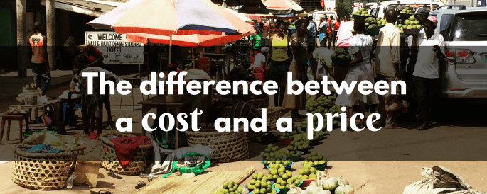 The difference between cost and price