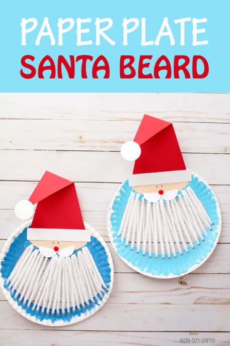 Yarn and paper plate Santa beard craft for kids to make this Christmas. #santacraft #ChristmasCraft #Santacraftforkids #kidscraftideas #printable