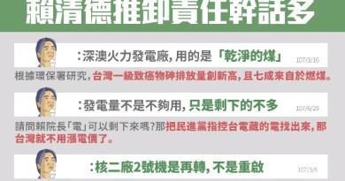 賴清德幹話語錄總整理 包含「台灣不是缺電,只是剩下的電不夠多」「核二2號機,是再轉非重啟」